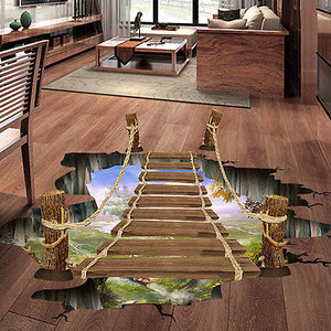 3D Wall Stickers Bridge Floor/wall Sticker Removable Mural Decals Vinyl Art Living Room Decors