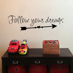 Arrow Wall Decals Follow Your Dreams Inspirational Quote Wall Sticker Vinyl Lettering Kids Room Wall Decor Decals