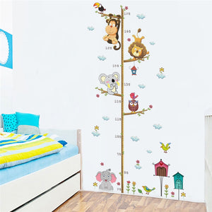 Lovely Animals On Tree Branch Growth Chart Wall Stickers Kids Room Decoration Children Height Measure Mural Art Diy Home Decals