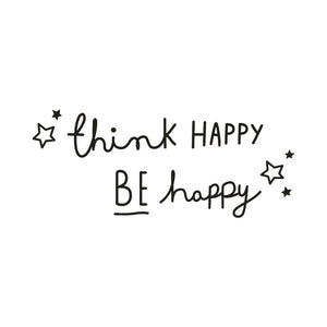 Think Happy Be Happy Quotes Wall Sticker Home Decor Living Room Bedroom Kids Room Decal Wall Mural Muraux Stickers On The Wall