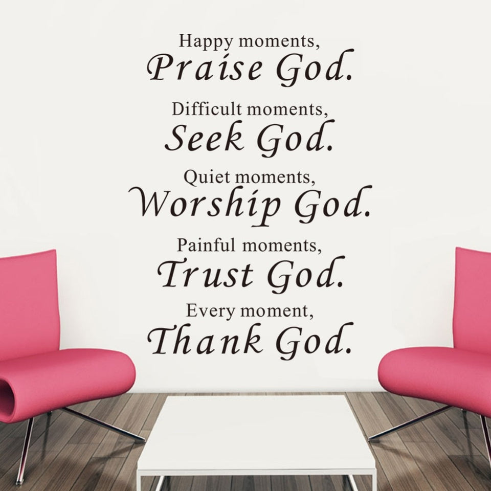 Bible Wall stickers home decor Praise Seek  God Quote Christian
