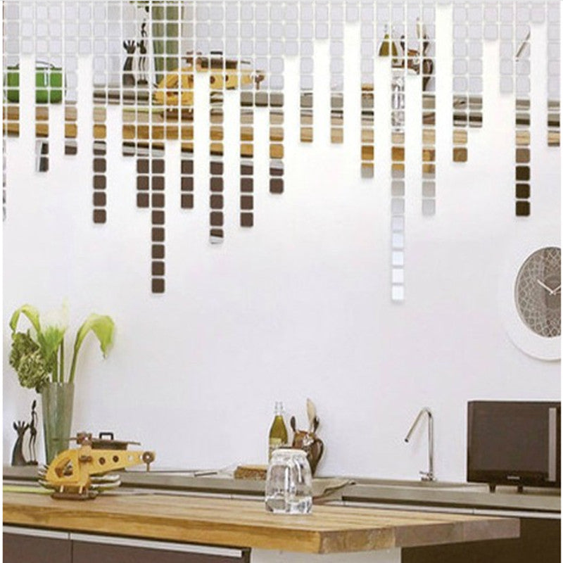 Acrylic Mirror Wall Stickers Decal Square (100Pcs)