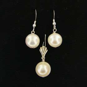 PJWX1005 .925 Sterling Silver Beautiful Pair Natural White Pearl Earrings and Pendant Set
