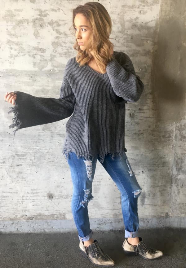 Charcoal Tassel Sweater