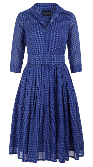 Audrey Dress #2 Shirt Collar 3/4 Sleeve Cotton Musola (Toto Gingham)