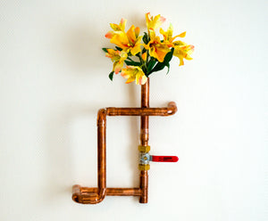 Copper pipe vase wall mounted
