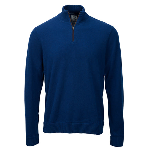 Zip Neck - French Navy Cashmere 2ply Front