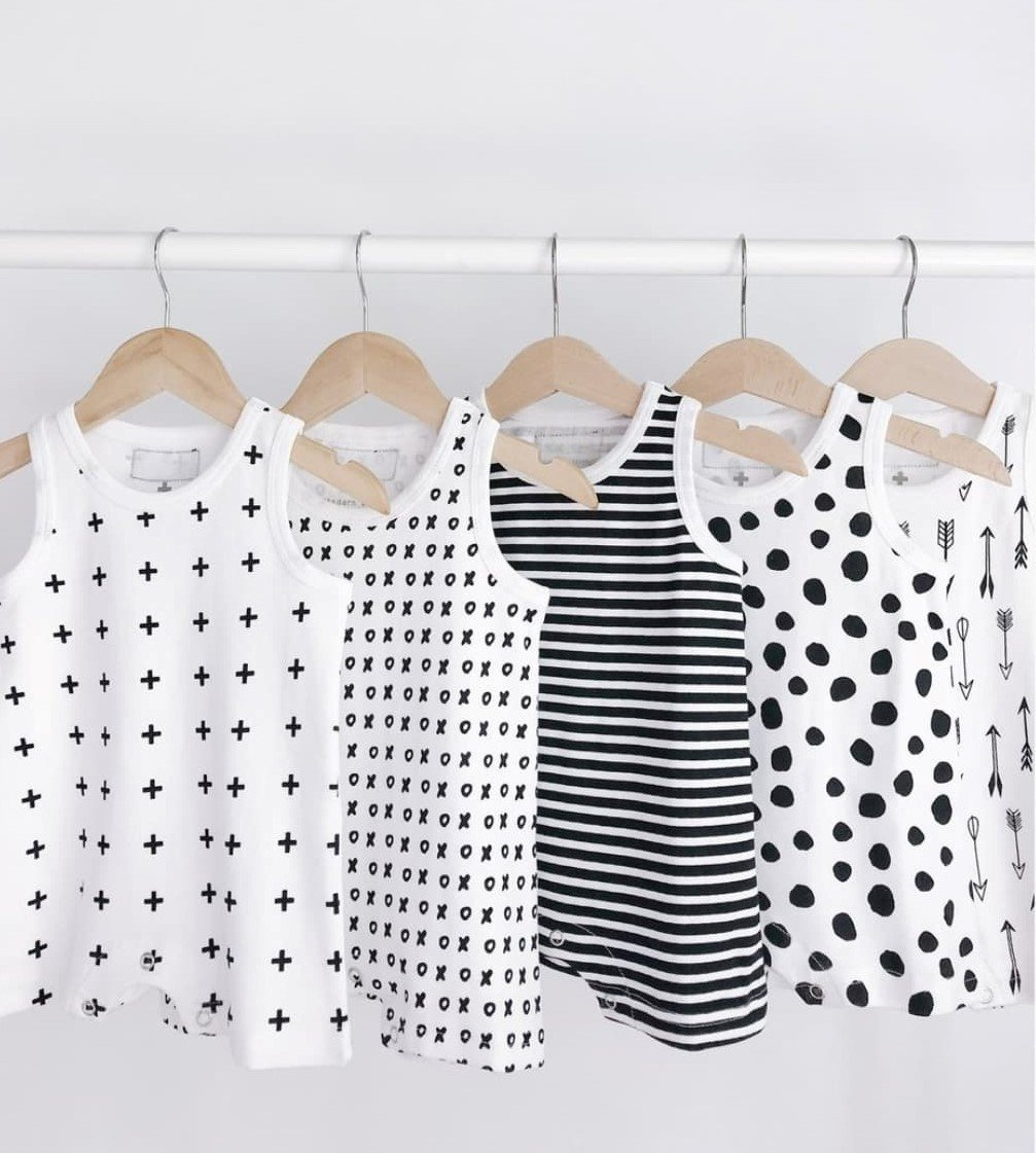 Organic Baby Tank Rompers - Black and White Prints