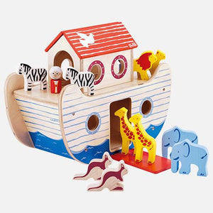 Noah's ark with wooden giraffe pairs.