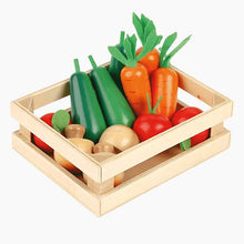 Five-a-day wooden vegetable box with wooden fish and fruits.