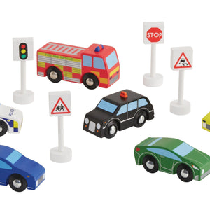Wooden cars & vehicles, with wooden road signs.