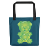 """Gummy Pug Green"" All-Over Print Tote Bag"
