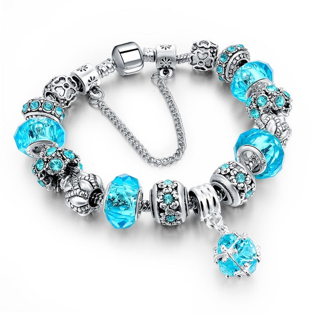 Crystal Beaded Charm Bracelets in a Variety of Beautiful Colors