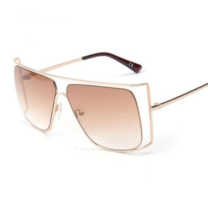 Luxury Oversized Gold Clear Cool Square Clear and Tinted Lens