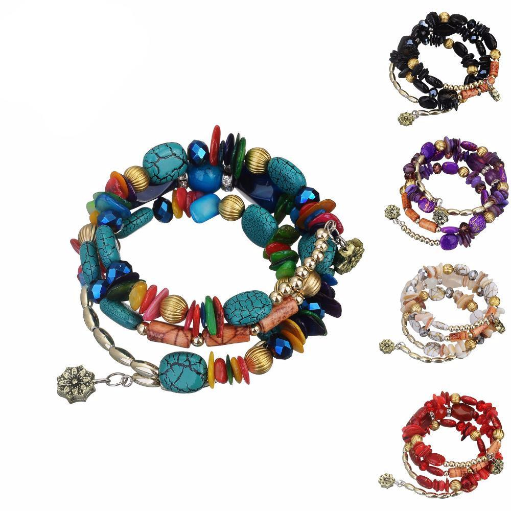 Hot Bohemian Wrap Charm Bracelet adorned with Crystal Stone Shells