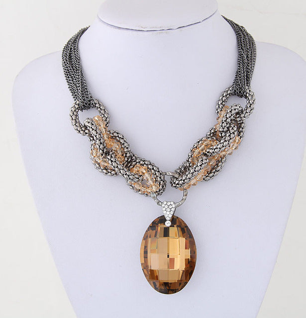 Water Drop Mood Tracking Crystal Pendant With a Funky Chunky Popcorn Chain