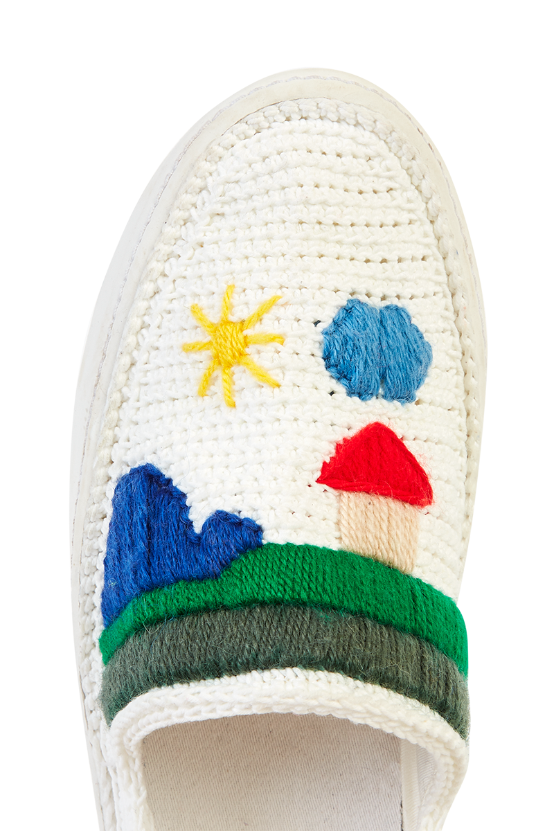 Amrose x Mira Mikati Crochet Scenery Slip-On Trainers