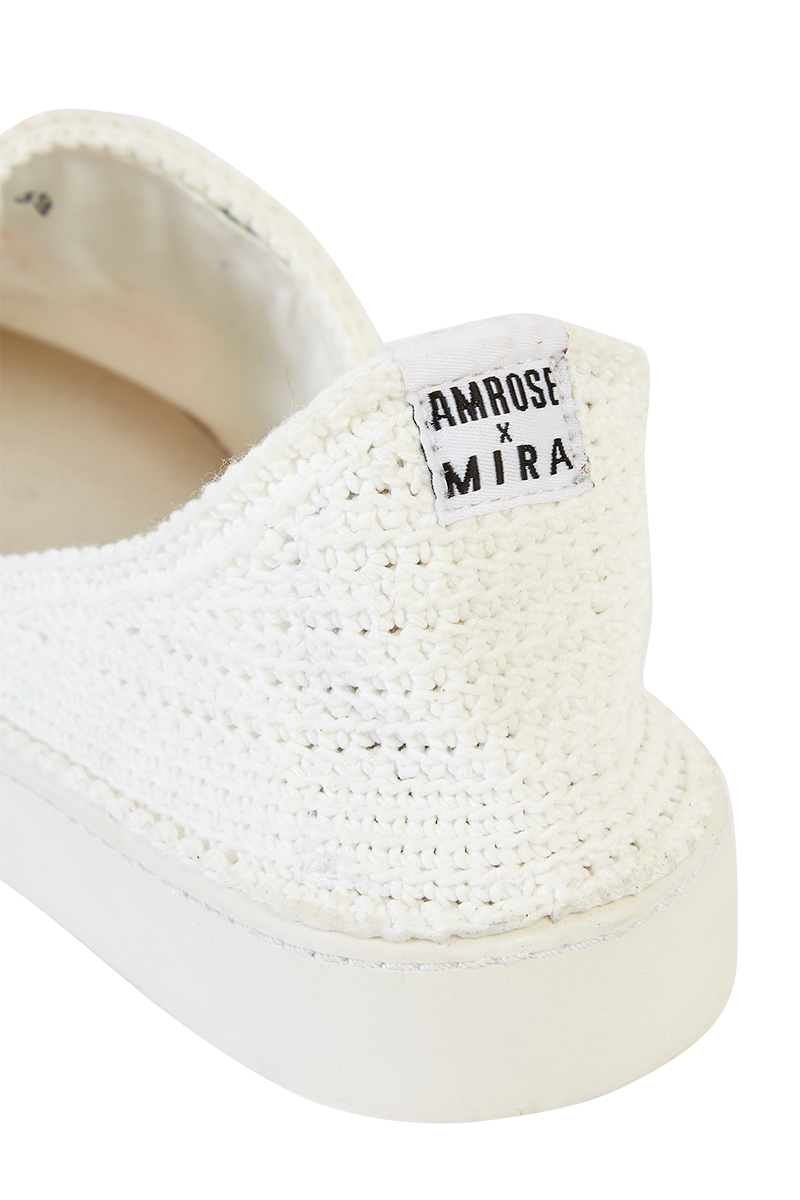 Amrose x Mira Mikati Crochet Scenery Slip-On Trainers detail