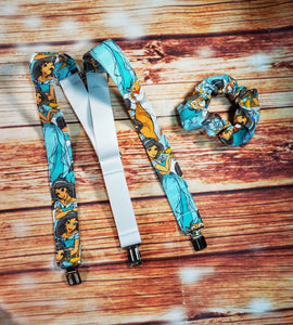Princess Jasmine Suspenders With Matching Scrunchie or Hairbow - SweetLooks Collection