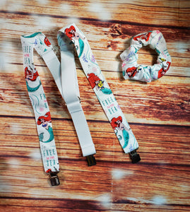 The Little Mermaid Suspenders With Matching Scrunchie or Hairbow