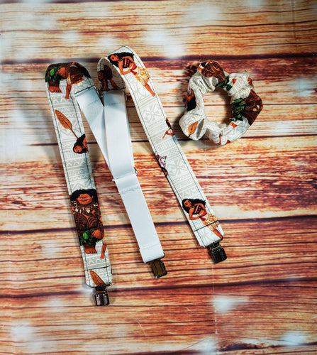 Moana Suspenders With Matching Scrunchie or Hairbow - SweetLooks Collection