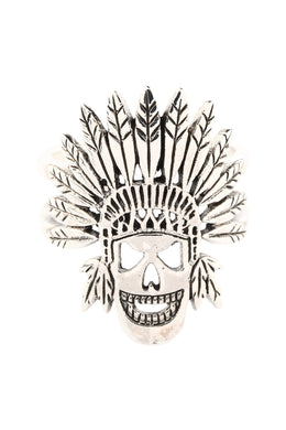 Headdress Skull Silver Ring