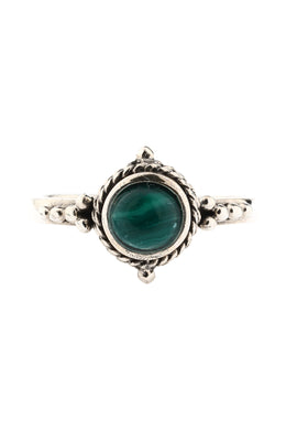 Tribal Malachite Oval Silver Ring