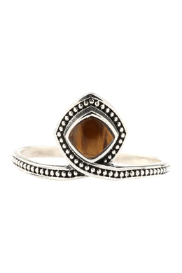 Tiger Eye Cushion Wrapped Silver Ring