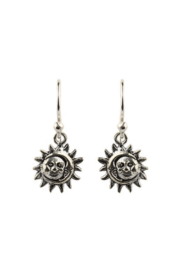 Sun & Moon Silver Droplets Earrings