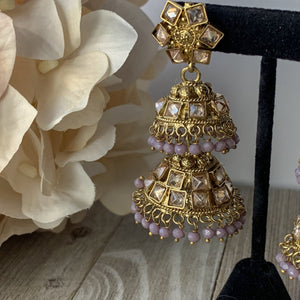 Two Tiered Lavender, Earrings - THE KUNDAN SHOP