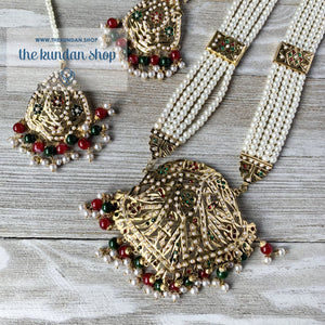 Red & Green Jadau Raani Haar, Necklace Sets - THE KUNDAN SHOP
