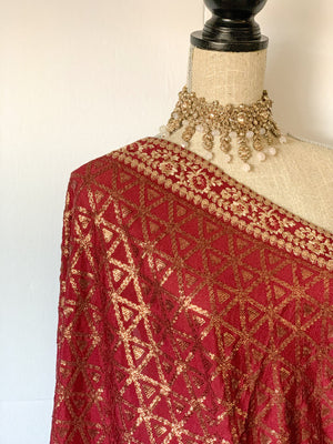 Shine in Sequins - Maroon, Dupatta - THE KUNDAN SHOP