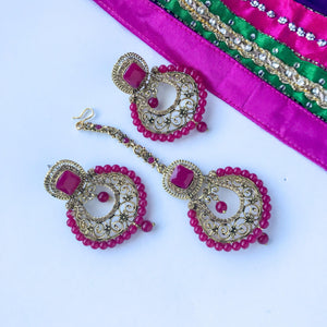 Pink Things, Earrings + Tikka - THE KUNDAN SHOP