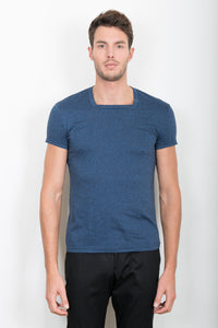 "TEE-SHIRT ""CARRÉ"" BLEU JEAN CHINÉ"