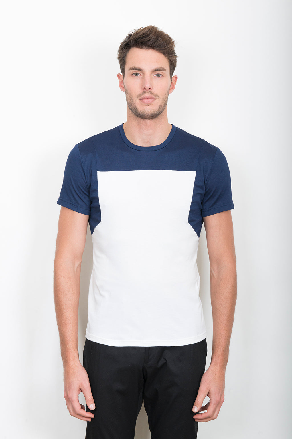 Sébastien Blondin haut top tee-shirt workwear tablier apron marine navy white blanc piqué sport sportswear chic été summer coton cotton maille knitwear créateur designer nouveau new basique basic mode fashion homme man men men's world