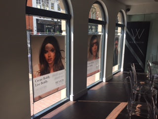 large backlit poster frames for salon window