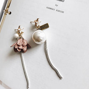 Asymmetric Flower Pearl Long Drop Earring - Jewelux & Co.
