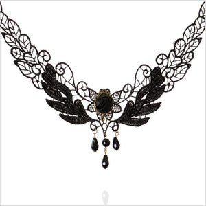 Black Crystal Flower Lace Choker Necklace - Jewelux & Co.