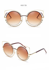 Cat Eye Sunglasses with Diamond Detail - Jewelux & Co.