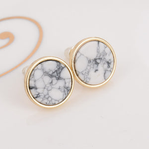 Round Marbled Stud Earrings - Jewelux & Co.