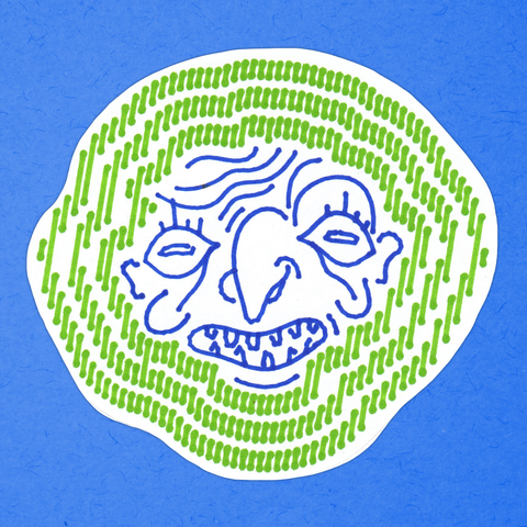 GRINNING FACE green-and-blue big sticker