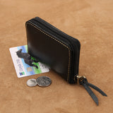 Small Leather Card Wallet with Coin Slot