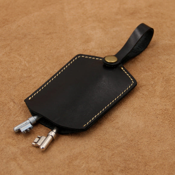 Leather Key Holder with Snap Button Strap