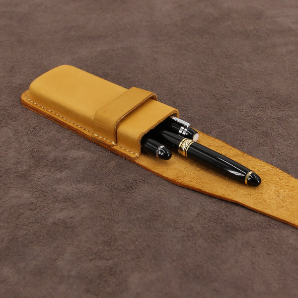 Leather Triple Pen Case with Flap Fastener