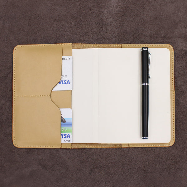 Classic Refillable Leather Journal with 2 Card Holders