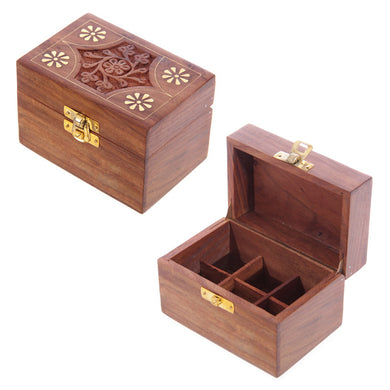 Sheesham Wood Essential Oil Box (Holds 6 Bottles)
