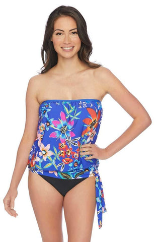Trellis Surplice Empire Tankini Top