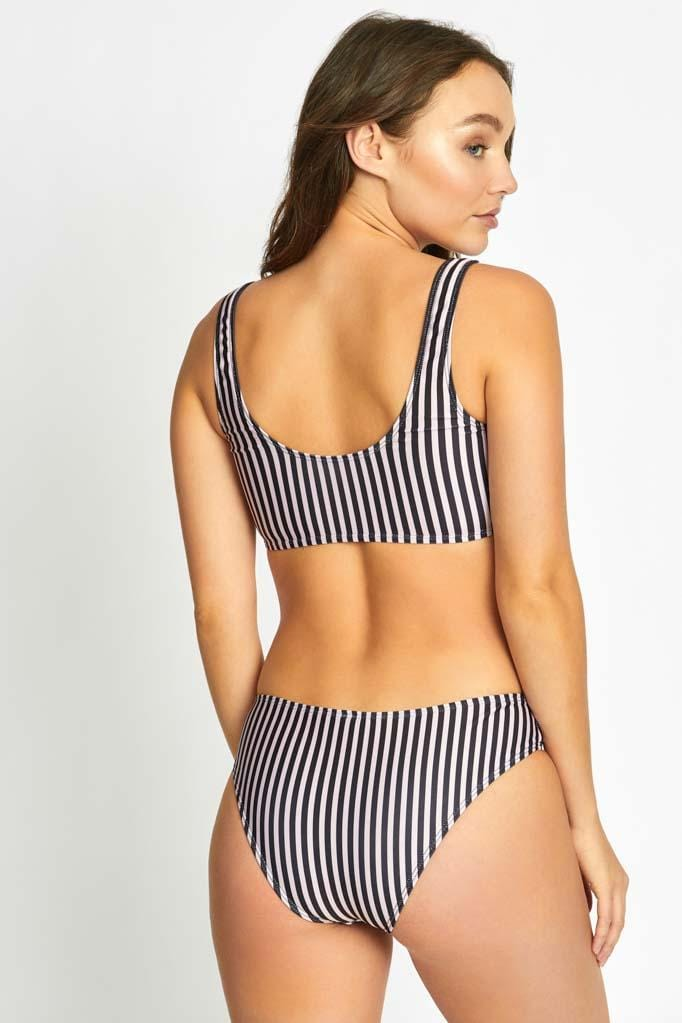 Stripe Sport Bra Bikini Top & Retro Bottom Set