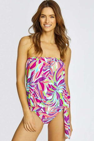 Stained Glass Blouson Bandeau Tankini Top & High Waist Bottom Set