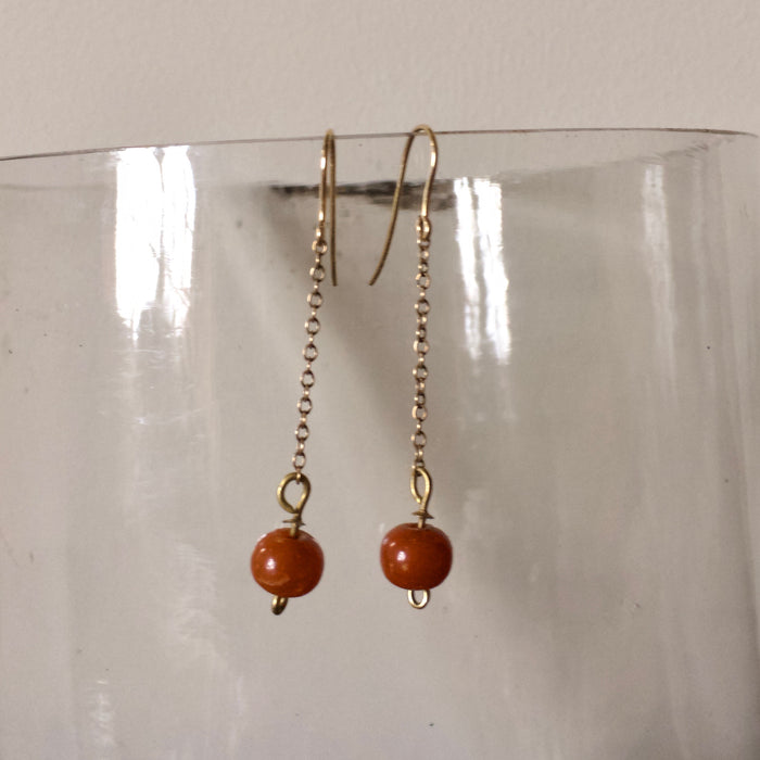 Amber Beads and Gold Chain Hook Earrings.